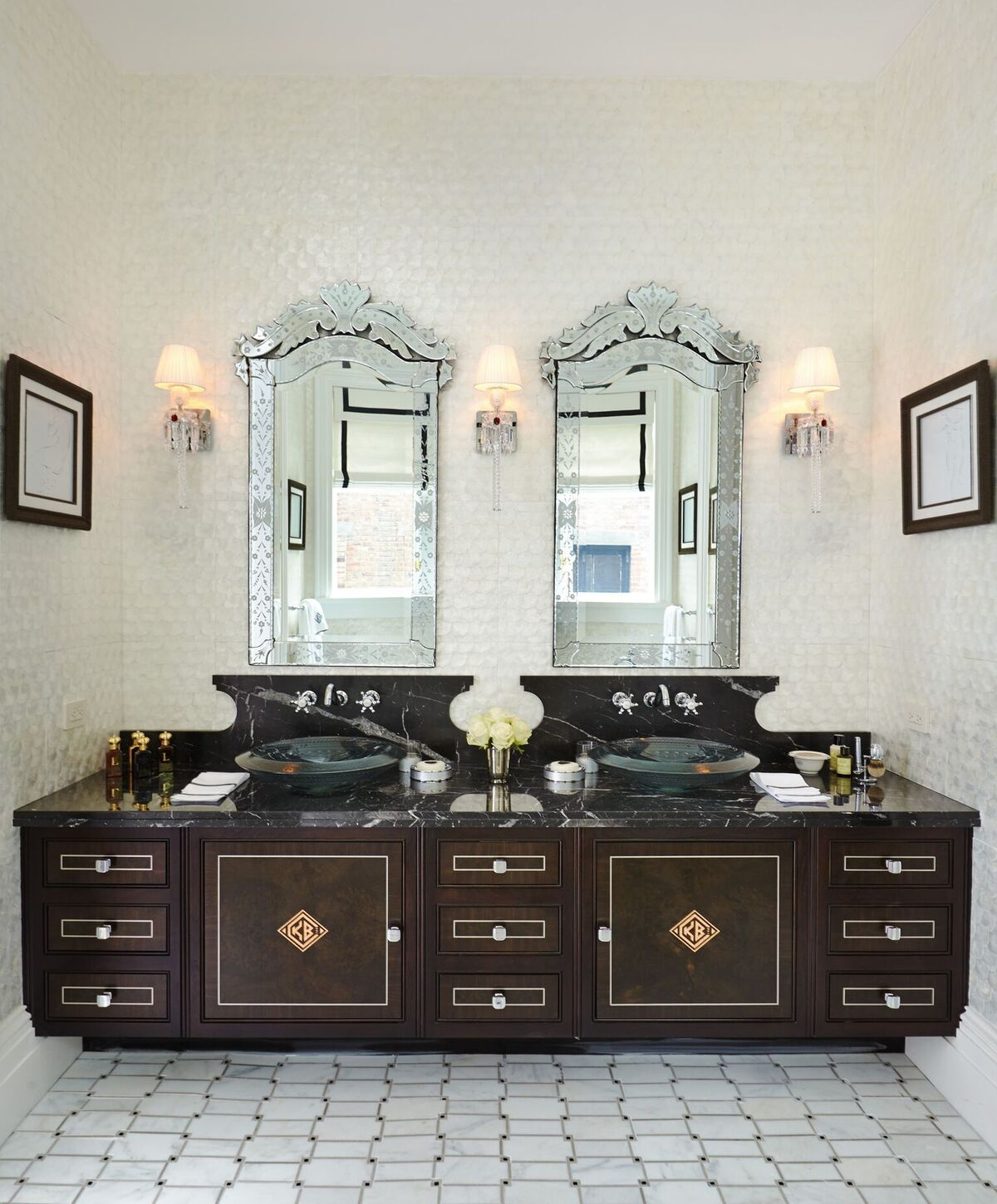 8 beautiful places to use wallcoverings at home for Clive christian bathroom designs