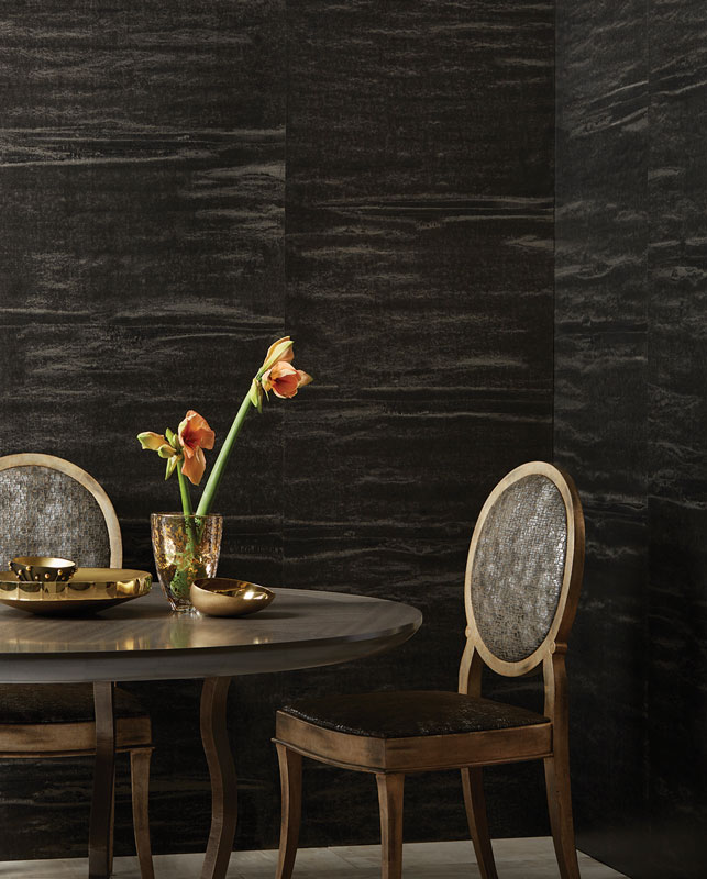 Organic Pattern Of Our Weathered Metals Wallcovering In A Statement Making Black Hue Will Create An Instant Focal Point Any Room